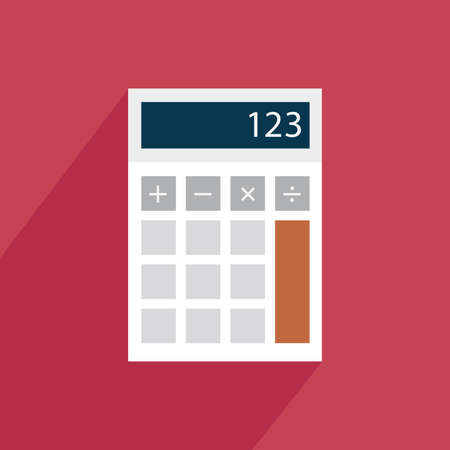 calculator icon: Calculator icon with shadow on a red background