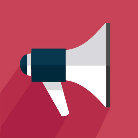 declare: Megaphone icon with shadow on a red background. Loud-hailer symbol