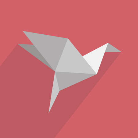 origami paper: Origami icon with shadow on a red background