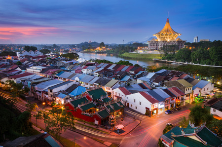 Sunset View At Kuching City Capital Of Sarawak Редакционное