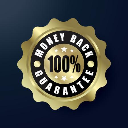 Money Back Guarantee golden label 100%, vector illustration
