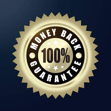 Money Back Guarantee golden label, vector illustration