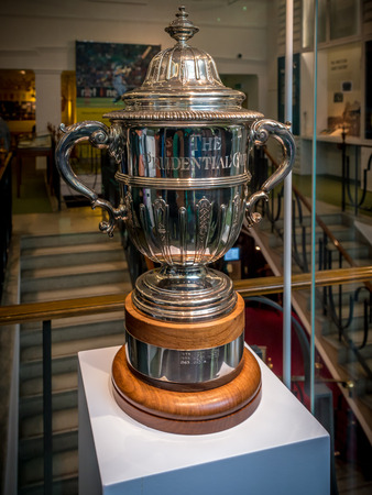 London, United Kingdom - June 26, 2016: Prudential Cup trophy kept at MCC cricket museum at Lords Cricket Ground in London. The Cricket Worldcup Trophy between 1975-1983 Editorial