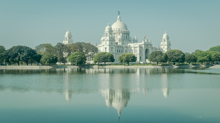 A beautiful view of Victoria Memorial, Kolkata, Calcutta, West Bengal, India. A Historical Monument of Indian Architecture built in memory of Queen Victoria's 25 years reign in India