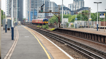 Vauxhall, London, United Kingdom - May 28, 2016 : A view of the Vauxhall station with a train departing from the platform at London, England, United Kingdom Editorial