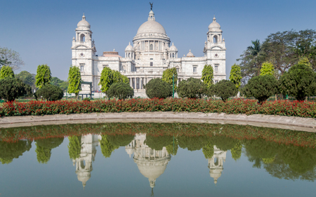 A beautiful view of Victoria Memorial, Kolkata, Calcutta, West Bengal, India. A Historical Monument of Indian Architecture built in memory of Queen Victorias 25 years reign in India 에디토리얼