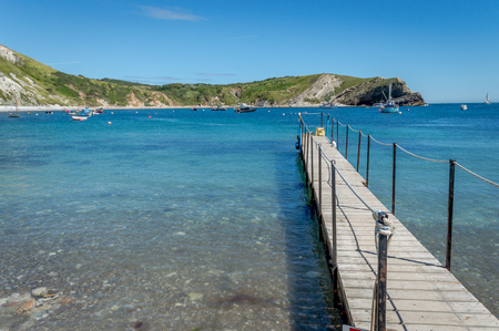 Jetty at Lulworth Cove on Jurassic Coast, Doorset, Lulwoth, United Kingdom