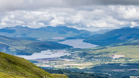 A view of Fort William, a town in the Scottish highland with Loch Linnhe, Scotland, UK