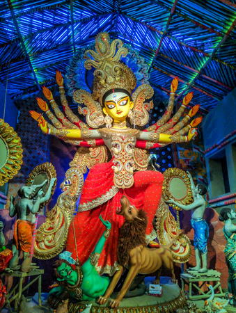 Sculpture of Hindu Goddess Durga during Durga Puja festival in October at Kolkata, Calcutta