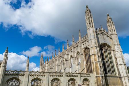 The famous King's College Chapel at Cambridge, Cambridgeshire against blue sky
