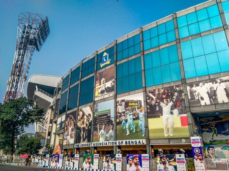 Kolkata, West Bengal / India - November 11 2019: Eden Gardens cricket stadium, maintained by Cricket association of Bengal (CAB). First ever pink ball day and night test match payed here