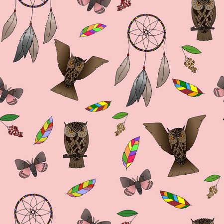 wigwam: Hand-drawn Indian forest seamless pattern. Rose Quartz background Illustration
