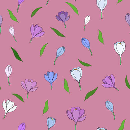 echo: Seamless pattern with handdrawn crocuses. Peach Echo background