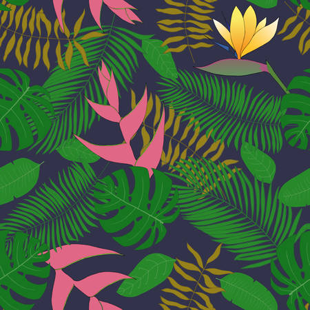 Seamless pattern with handdrawn tropical leaves.