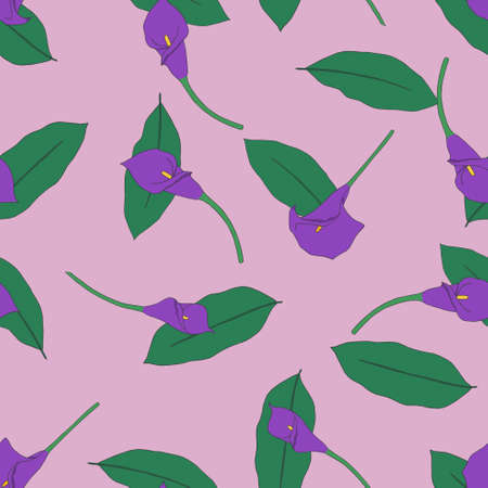 callas: Seamless pattern with pink callas Illustration