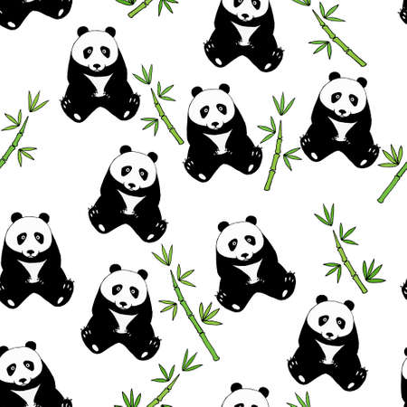 Seamless pattern with cute pandas