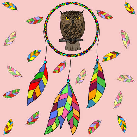 dreamcatcher: hand-drawn owl and dreamcatcher