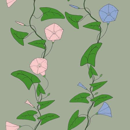 bindweed: Seamless pattern with hand-drawn bindweed