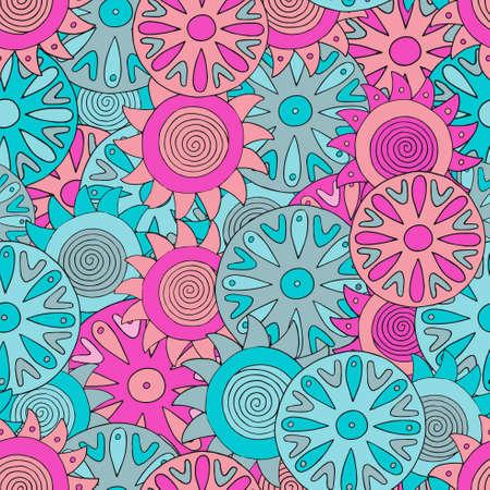 psychoanalysis: Seamless abstract hand-drawn pattern with colorful circles