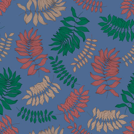 riverside: Seamless pattern with hand-drawn colorful leaves. Riverside background Illustration