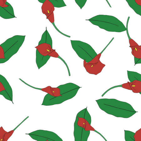 callas: Seamless pattern with hand-drawn Aurora Red callas.