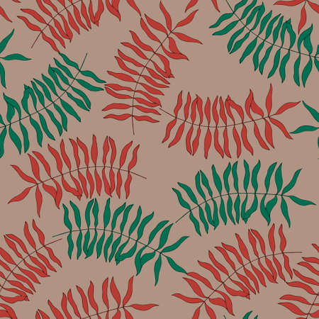 taupe: Seamless pattern with hand-drawn colorful leaves. Warm Taupe background