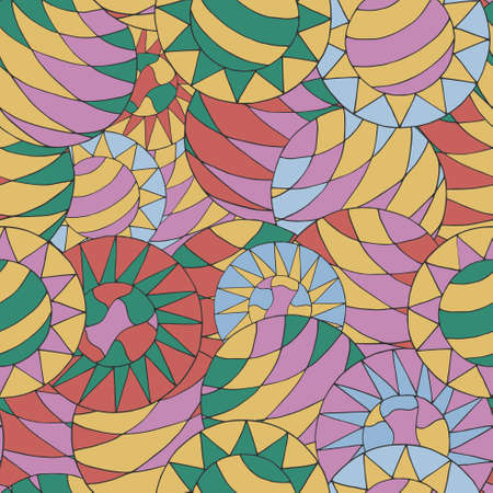 psychoanalysis: Seamless abstract hand-drawn pattern with colorful circles