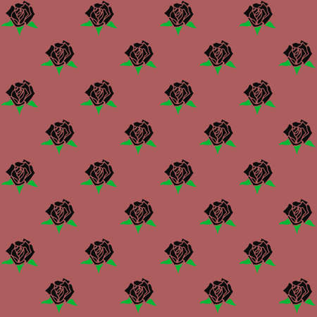 black roses: Seamless pattern with hand-drawn black roses. Dusty Cedar background Illustration