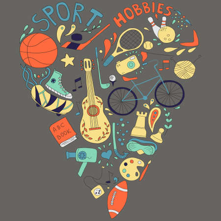 hobbies: Hand drawn doodle set of hobbies and sport things. drawn in the shape of a heart.