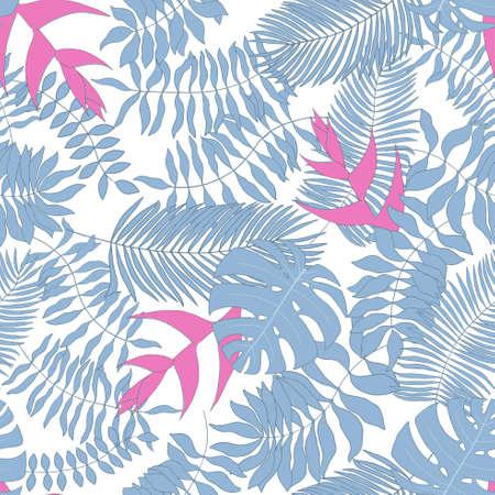 Seamless pattern with tropical leaves Vektorové ilustrace
