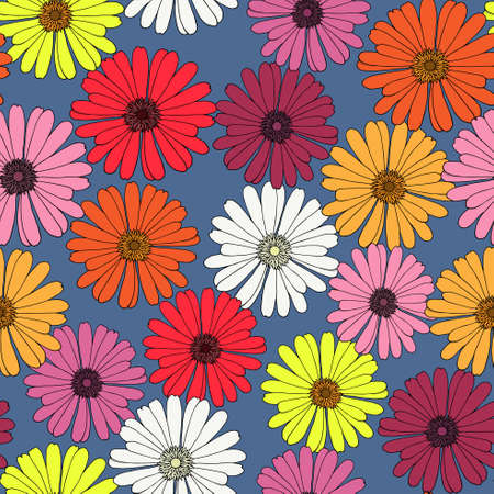 riverside: Seamless pattern with hand-drawn gerberas. Riverside background