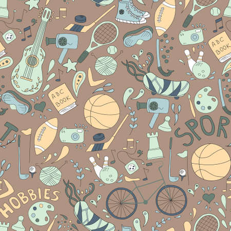 warm things: seamless pattern.  doodle set of hobbies and sport things. Warm Taupe background