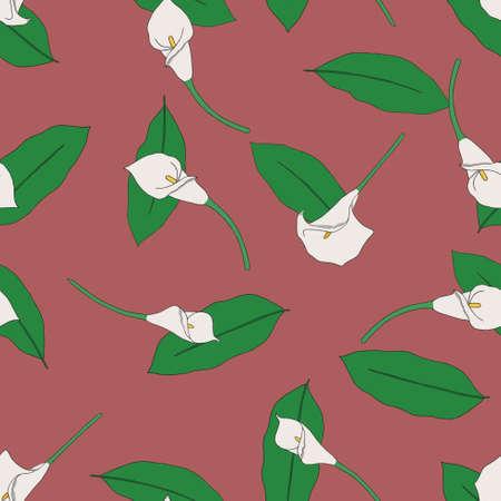 callas: Seamless pattern with  callas. Dusty Cedar background Illustration