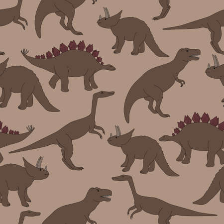 taupe: seamless pattern.  set of dinosaurs. Warm Taupe background Illustration