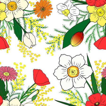 no background: Seamless pattern with hand-drawn spring flowers. No background Illustration