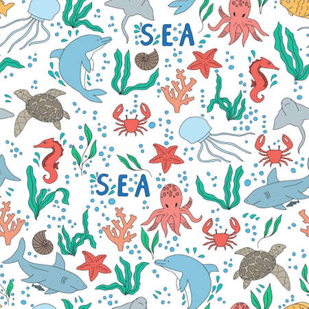 oceanside: Vector seamless pattern. Hand-drawn doodle set of sea life