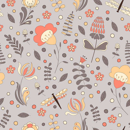 FLORAL: Seamless abstract hand-drawn floral pattern.