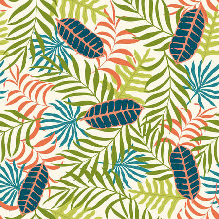 Tropical background with palm leaves. Seamless floral pattern.