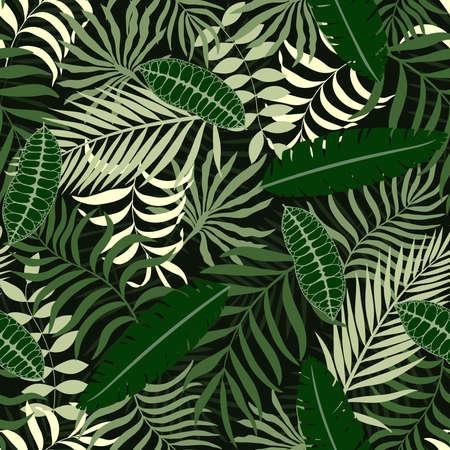 Fond tropical avec des feuilles de palmier. Motif floral sans soudure.