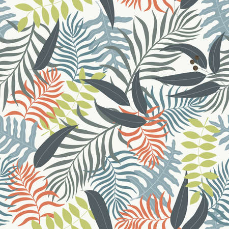 Tropical background with palm leaves. Seamless floral pattern Illustration