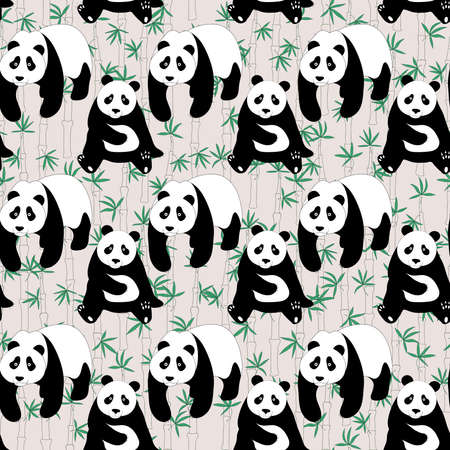 Seamless abstract pattern with hand-drawn cute pandas. Almost Mauve color background with bamboo Illustration