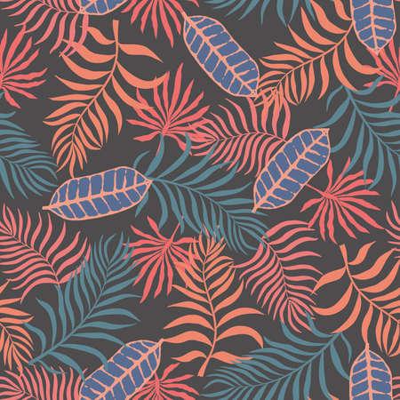 Fondo tropical con hojas de palma. sin fisuras patrón floral . Foto de archivo - 95059022