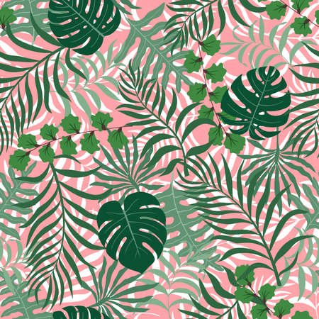 Tropical background with palm leaves. Seamless floral pattern Иллюстрация