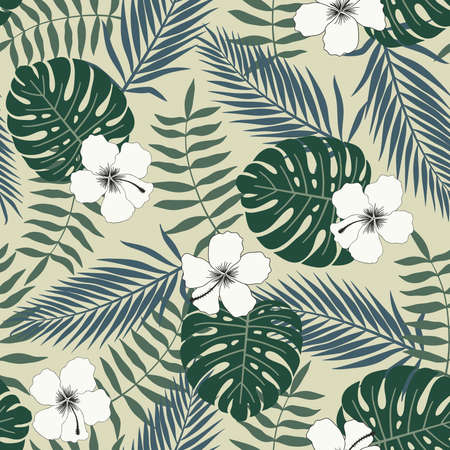 Tropical background with palm leaves and flowers. Seamless floral pattern. Summer vector illustration. 向量圖像
