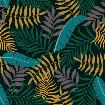 Tropical background with palm leaves seamless floral pattern. Summer vector illustration.