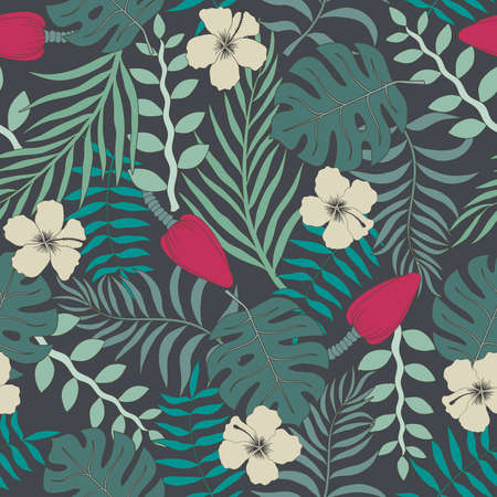 Tropical background with palm leaves and flowers. Seamless floral pattern. Summer vector illustration. Illustration