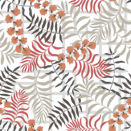 Tropical background with palm leaves. Seamless floral pattern. Summer vector illustration. 일러스트