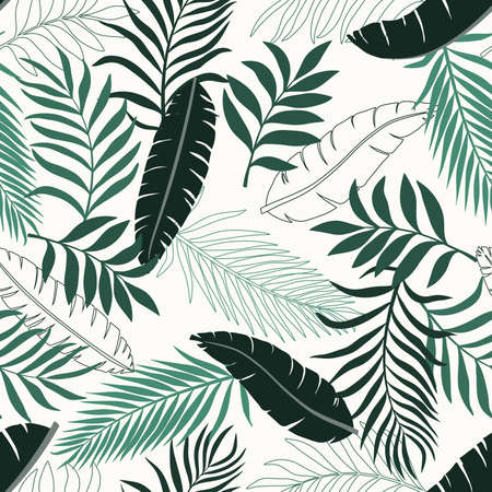 Tropical background with palm leaves. Seamless floral pattern. Summer vector illustration. 向量圖像