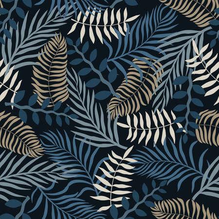 Tropical background with palm leaves. Seamless floral pattern. Summer vector illustration. Ilustração