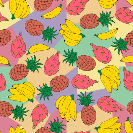 Seamless abstract pattern with hand-drawn tropical fruits